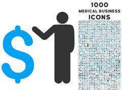 Banker Icon with 1000 Medical Business Icons Stock Illustration