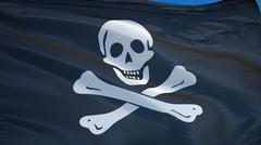 Pirate flag, close up, isolated with clipping path alpha channel Stock Photos