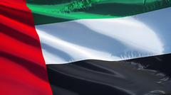 Emirates flag, close up, isolated with clipping path alpha channel Stock Photos