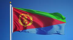 Eritrea flag, long shot, isolated with clipping path alpha channel Stock Photos
