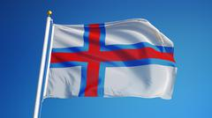 Faroe Islands flag, close up, isolated with clipping path alpha channel Stock Photos