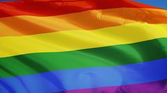 The gay pride rainbow flag, close up, isolated with clipping path alpha chann Stock Photos