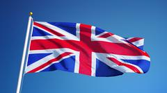 Great britain flag, close up, isolated with clipping path alpha channel Stock Photos