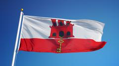 Gibraltar flag, close up, isolated with clipping path alpha channel Stock Photos