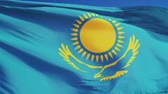 Kazakhstan flag, close up, isolated with clipping path alpha channel Stock Photos