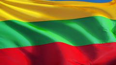 Lithuania flag, close up, isolated with clipping path alpha channel Stock Photos