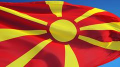 Macedonia flag, close up, isolated with clipping path alpha channel Stock Photos