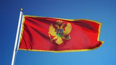 Montenegro flag, close up, isolated with clipping path alpha channel Stock Photos