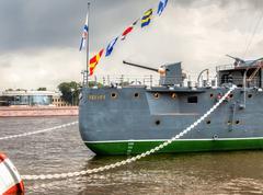 The legendary revolutionary cruiser Aurora Stock Photos