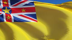 Niue flag, close up, isolated with clipping path alpha channel Stock Photos
