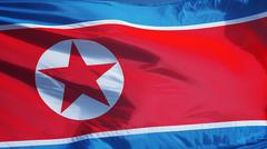 North Korea flag, close up, isolated with clipping path alpha channel Stock Photos