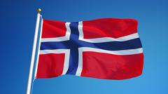 Norway flag, close up, isolated with clipping path alpha channel Stock Photos