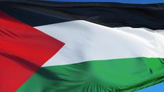 Palestine flag, close up, isolated with clipping path alpha channel Stock Photos
