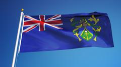 Pitcairn Islands flag, close up, isolated with clipping path alpha channel Stock Photos