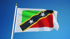 Saint Kitts and Nevis flag, close up, isolated with clipping path alpha chann Stock Photos
