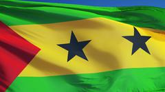 Sao Tome and Principe flag, close up, isolated with clipping path alpha chann Stock Photos
