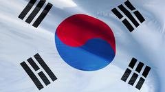South Korea flag, close up, isolated with clipping path alpha channel Stock Photos