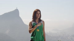Young athlete wins gold medal Stock Footage