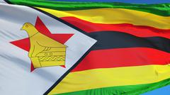 Zimbabwe flag, close up, isolated with clipping path alpha channel Stock Photos