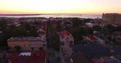 Aerial Silhouette of French Huguenot Church in Charleston SC Stock Footage