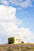 Chapel with lavender field, Plateau de Valensole, Provence, France Stock Photos