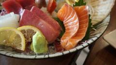 Japanese cuisine premium sashimi platter Stock Footage