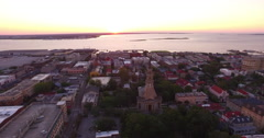 Aerial of Saint Philips Church and Charleston Harbor Stock Footage