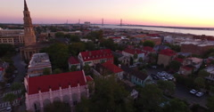 Flyby of Ravenel Bridge, St. Philips, French Huguenot Church - Charleston SC Stock Footage