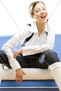 Sitting businesswoman Stock Photos