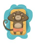 Vector monkey relaxing on air mattress Stock Illustration