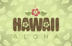 Vector illustration of Hawaii and Aloha words Stock Illustration