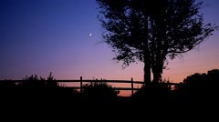 Moonset Over Orchard, New York Stock Footage