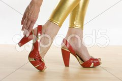 Red summer shoes Stock Photos