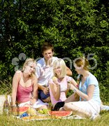 Friends at a picnic Stock Photos