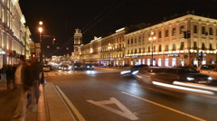 St. Petersburg Nevsky Prospect time-lapse photography Stock Footage
