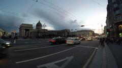 Saint Petersburg Nevsky Prospekt, Griboyedov Canal, Kazan Cathedral time-laps Stock Footage