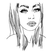 Vector hand painted sketch, fashion illustration with model Stock Illustration