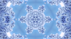 Surreal christmas transparent kaleidoscopic pattern with abstract snowflake Stock Footage