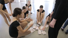 In model school young and beautiful women are preparing for dance class Stock Footage
