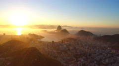 Aerial view of Rio de Janiero and Sugarloaf mountain Stock Footage