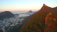 Aerial view of Rio de Janiero and Sugarloaf mountain with Christ the Redeemer Stock Footage