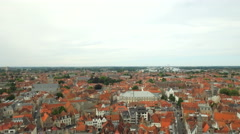 "WIDE Establishing shot panorama of Bruges, ""Venice of the North"" Stock Footage"