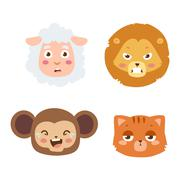 Animal emotion avatar vector icon Stock Illustration