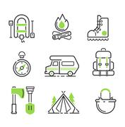 Camping icon vector isolated Stock Illustration
