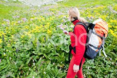 Woman backpacker in Vysoke Tatry (High Tatras), Slovakia Stock Photos