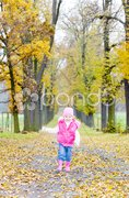 Little girl in autumnal alley Stock Photos