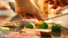Creative chefs arranging food display Stock Footage
