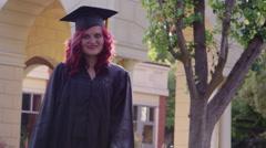 Portrait of female graduate student Stock Footage