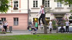 Street workout Slacklining in a park in Prague Stock Footage
