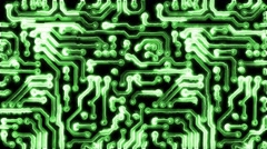 Circuit Board With Electric Signals Stock Footage
